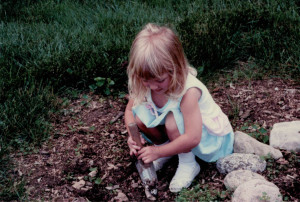 I'm sure my mom was thrilled I was gardening in my church shoes.