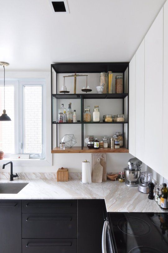 ... Open Kitchen Shelving In A Contrast Color Can Offset The Simplicity Of  White Cabinets Like A Apartment Therapy ...