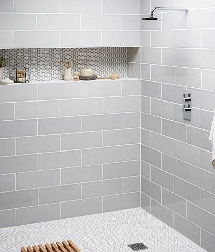 The muted colors of this shower alcove are fantastic. I love the contrasting grout color to make the penny tile pop. #ThisOldHouse shower inspiration via www.L-2-Design.com